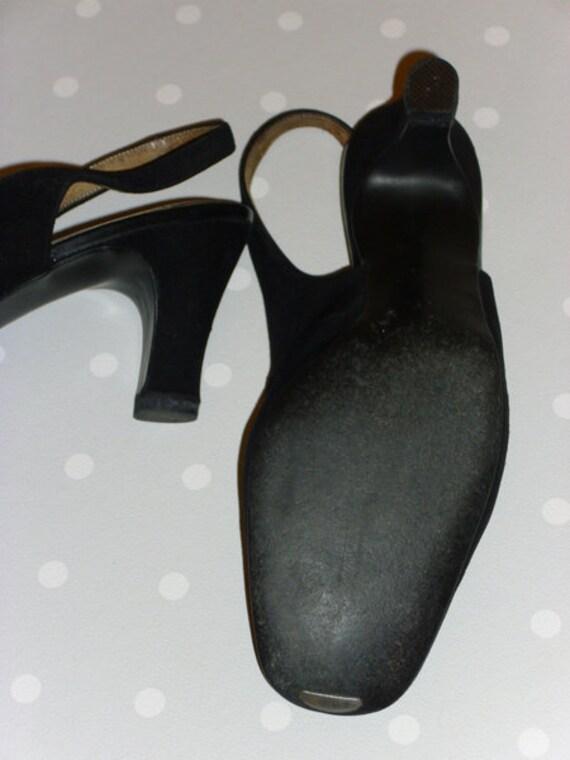 60er 70er VINTAGE Schuhe Sling Pumps schwarz | Etsy