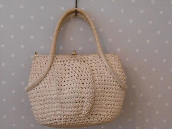 Unusual bright fixed 60s crochet bag