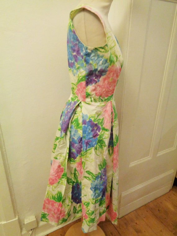 cute floral summer dress colorful 50s - image 3