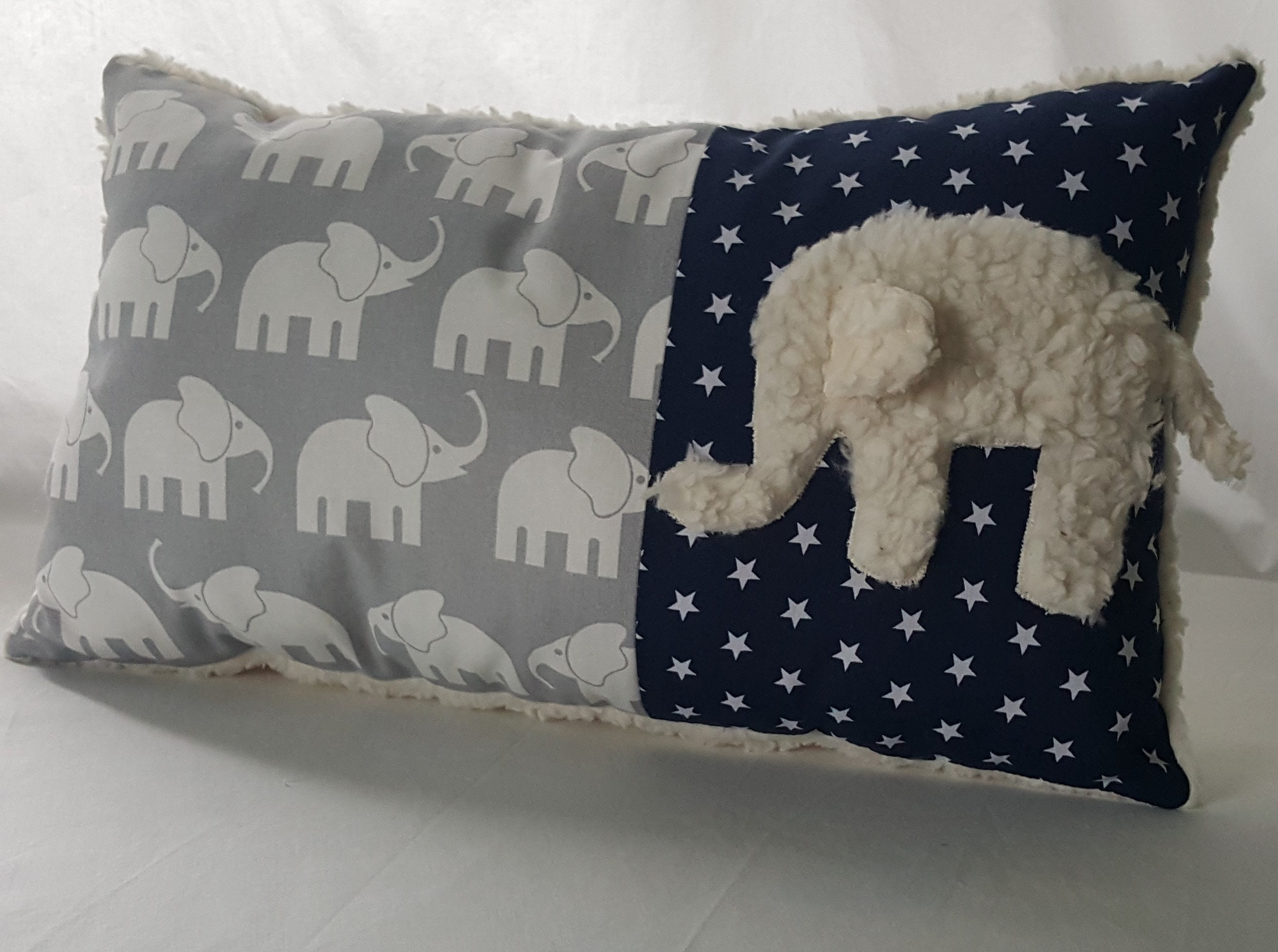 Namenskissen 25x35cm Wunschname Elefant Teddystoff