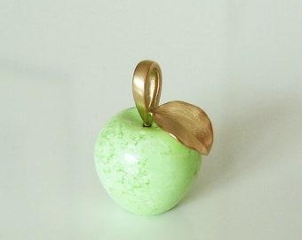 Apple Pendant, Lemon Chrysoprase with 750 Gold, Recycled, Eva, Apple Pendant, 18 Carat, Ball Pendant, Declaration of Love, Christiane Wendt