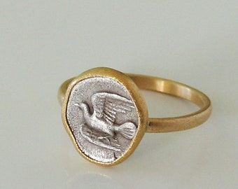 Items similar to Ring with antique coin, 750 and 900 gold