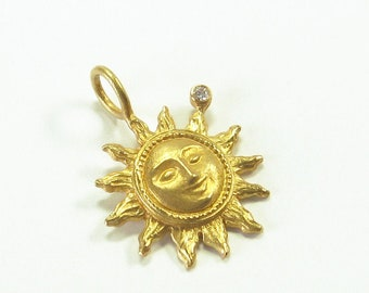 Pendant Sun with Face of 750 Gold with Brilliant, Recycled, Amulet, Talisman, Lucky Charm, Golden Sun, Christiane Wendt