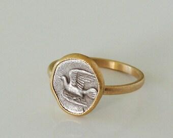 Ring Mit Antiker Münze Echt 900 Gold Und 925 Silber Etsy