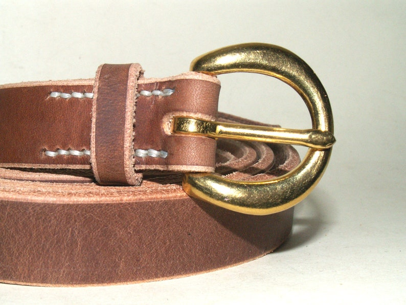 """1/"""" W HAND MADE 3MM THICK REAL LEATHER MEN WOMEN BELT SOLID BRASS ROLLER BUCKLE"""