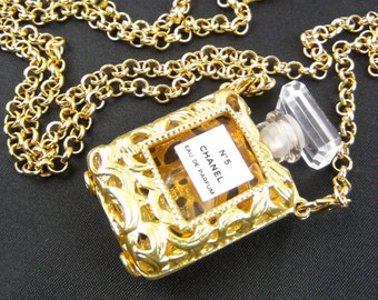 dad5aee1b880 Authentic Chanel No. 5 Perfume chain long necklace