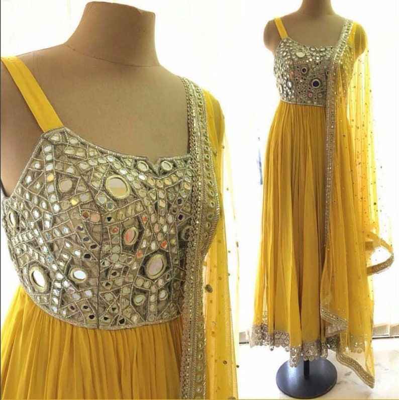 party bollywood wear Ethnic Indian Asian Pakistani Custom made long  anarkali suit sequence stitched Anarkali mustard yellow with mirror work