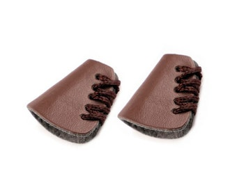 2 pcs. cord stopper laced faux leather dark brown