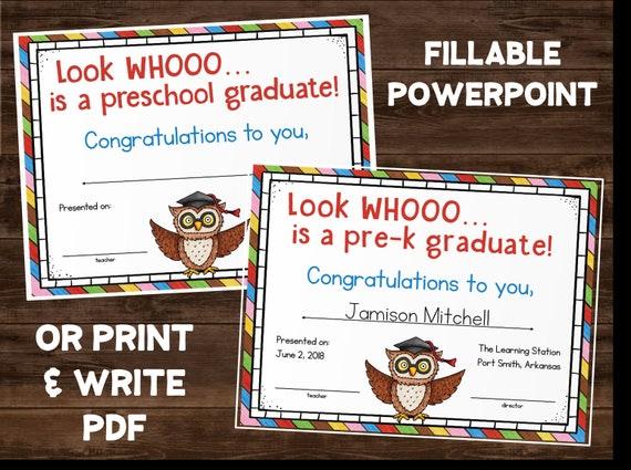 pre k preschool graduation certificate diploma printable etsy