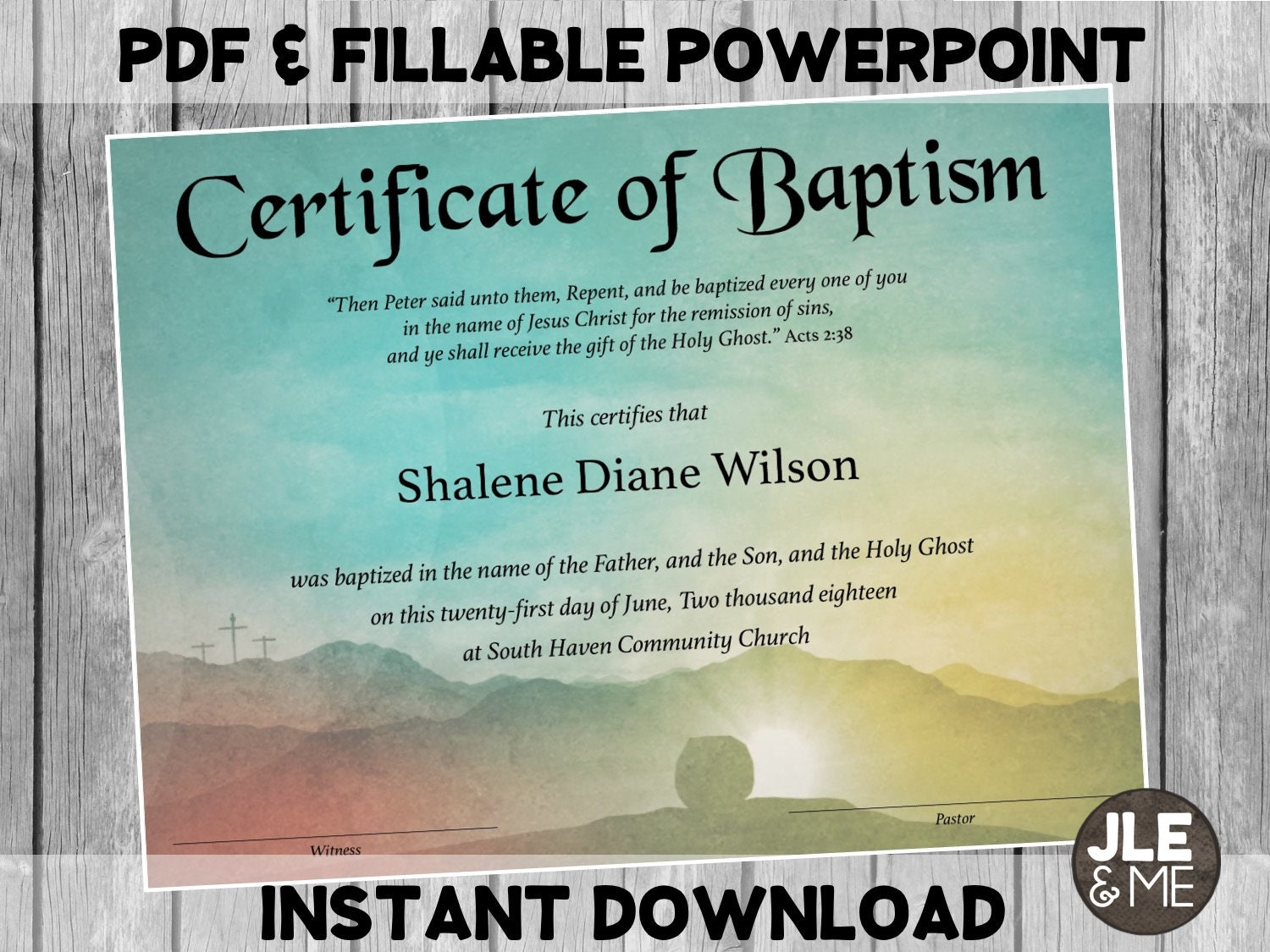 This is an image of Juicy Printable Baptism Certificates