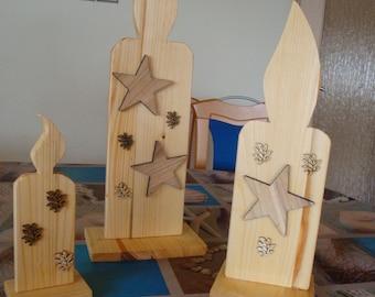 Weihnachtsdeko, 3 Holz Kerzen