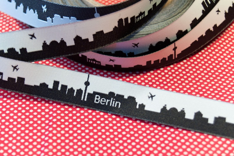 Berlin Skyline Webband black/white or brown/orange image 0