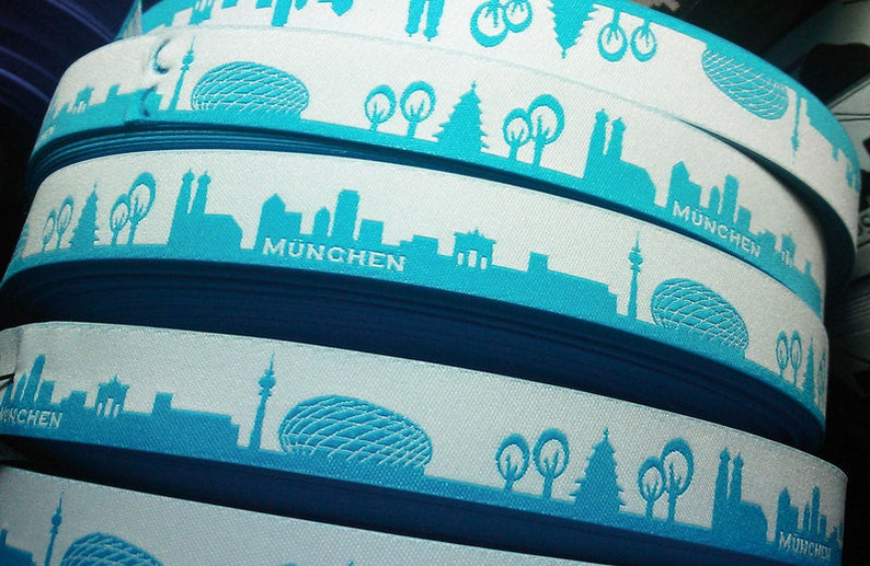 ribbon set 1m Munich skyline turquoise image 0
