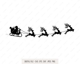Santa Sleigh Clipart Etsy