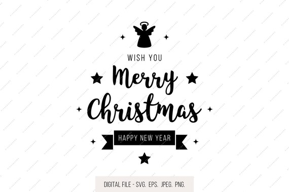 Merry Christmas Lettering.Merry Christmas Lettering Wishes Svg Golden Star Christmas Svg Holiday Clipart Holiday Svg Jpg Eps Dxf Png Cricut Clipart Silhouette