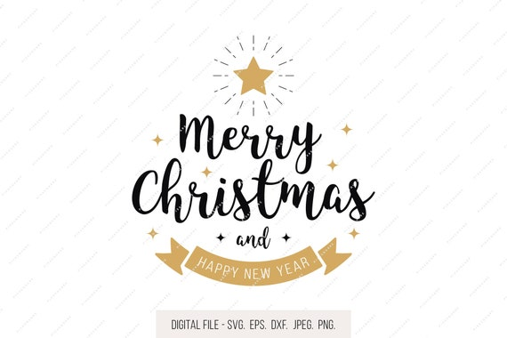 Merry Christmas Lettering.Merry Christmas Lettering Svg Golden Star Christmas Svg Holiday Clipart Holiday Svg Jpg Eps Dxf Png Cricut Clipart Silhouette