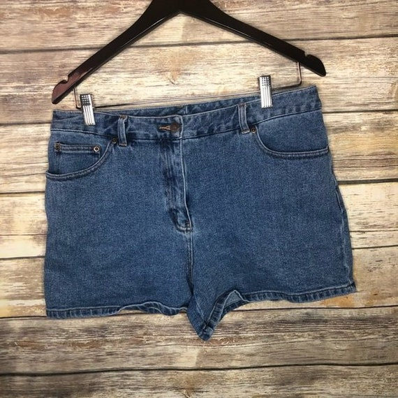 vintage women's plus size 14 denim shorts jeanology high waisted mom jean 90210 1990s trendy