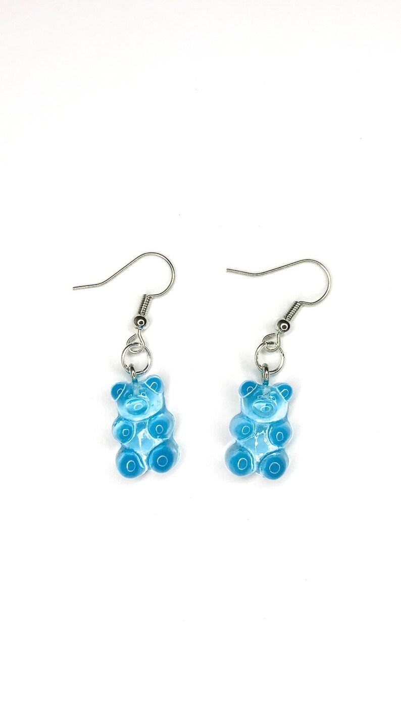 Blue gummy bear earrings
