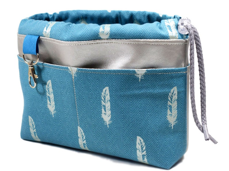 Pocket organizer switchbag silver petrol feathers image 0