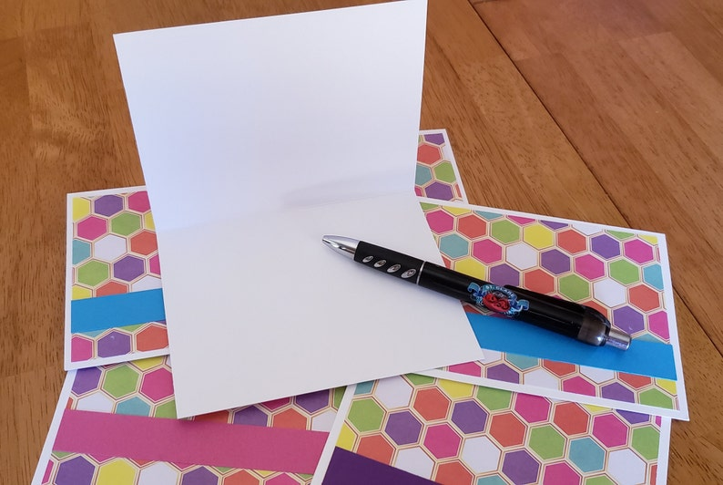 geometric note cards blank inside with envelopes multi-color handmade set of 6 Stationary FREE SHIPPING!