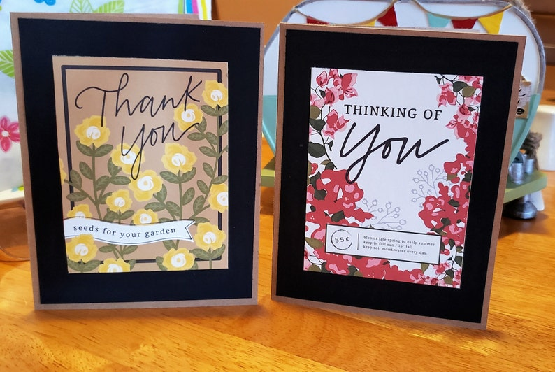 2 pack of floral cards all occasion cards kraft cardstock thank you Spring seed packets,Happy Birthday Free Shipping thinking of you