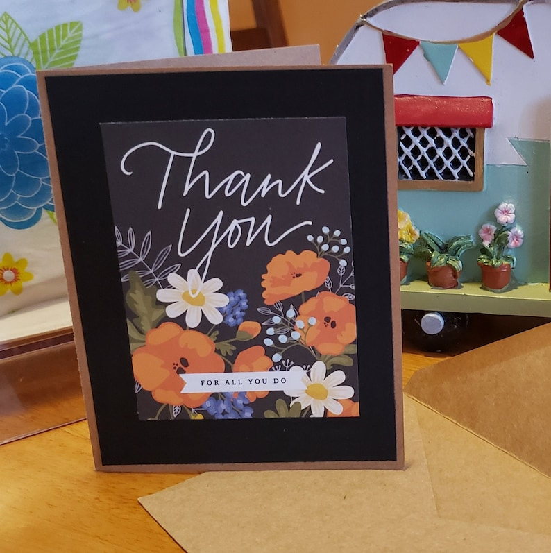 Birthday card Free Shipping thinking of you thank you card hello kraft cardstock seed packets Spring 2 pack of floral cards