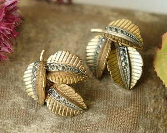 Vintage 1950s Mid Century Brass Leaf Shaped Clip On Earrings, MCM Autumn Fall Nature, Wedding Birthday Christmas Stocking Filler Gift