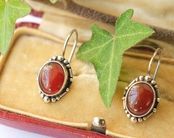 Jugendstil or Indian Style Carnelian Silver Earrings, 1900s, 1910s, 1920s Arts Crafts Movement, Virgo Zodiac, Autumn Fall Christmas Gift