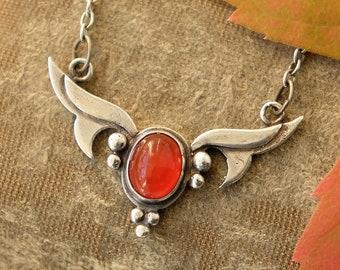 Antique Jugendstil Silver Carnelian Leaf Necklace, Edwardian 1900s 1910s Pendant, Arts Crafts Movement, Art Nouveau Autumn Fall Christmas
