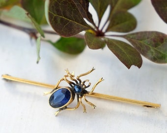 Antique Edwardian to 1910s Rolled Gold and Synthetic Sapphire Spider Bar Brooch, Halloween Spooky Vintage Gothic, Insect Creepy Bug Pin Gift