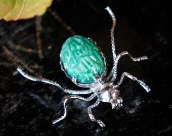 Art Deco Chrome and Green Peking Glass Spider Brooch, 1930s 1920s Halloween Insect Bug Pin, Witchy Gothic Creepy Christmas Gift