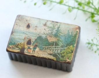 Victorian Papier Mache Snuff Box, 19th Century European? Countryside with Bridge, Antique Tobacco, Pill, Trinket Case, Vintage Tobacciana