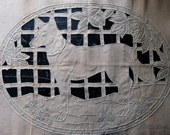 Vintage 1920s French Linen Cutwork Dog Cushion Cover, Embroidered German Shepherd Textile, Art Deco Shabby Chic Country Cottage Cottagecore