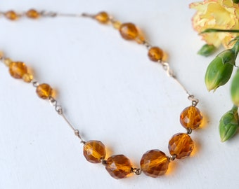 Vintage 1930s Art Deco Rolled Gold Filled Wirework Necklace with Amber Czech Bohemian Glass Beads, Wedding, Mother's Day, Valentine Gift