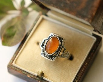 Antique 1910s 1920s Carnelian and Silver Ring, Arts and Crafts Movement, Art Deco, Fall Autumn Halloween Christmas Gift, UK K 1/2, US 5.5