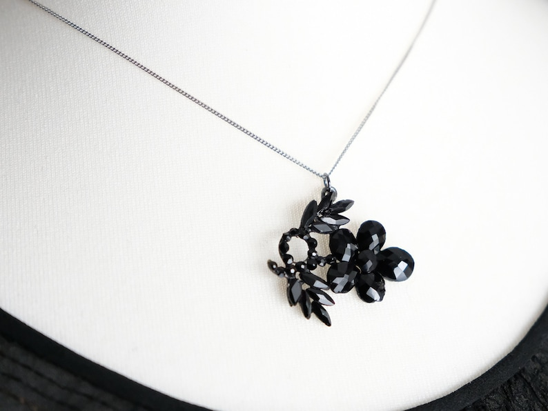 Antique Victorian Georgian French Jet Pansy Flower Necklace Pendant Vauxhall Glass Mourning Black Gothic Floral Charm Valentines Day Gift
