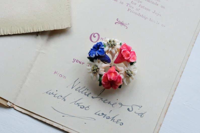 Vintage 1920s Carved Hand Painted Painted Bone Pin Brooch; Edelweiss and Gentian Flower Wreath; Austrian Souvenir; Floral