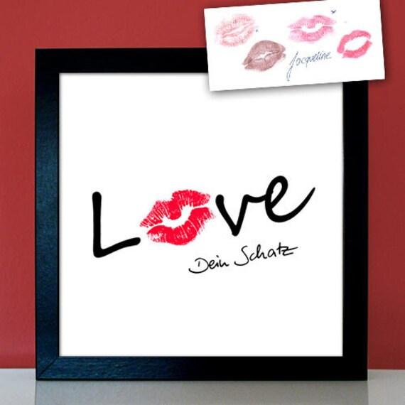 Personalisierter Kussmund Guten Morgen Bussi Erotisches Geschenk Dein Kuss Auf Foto Oder Leinwand