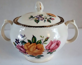 Sugar Bowel, Ridgewood Dishes, Flower Sugar Bowel, Bowels, Coffe and Tea, Made in England, Creamer, Tea Party, Wedding Gift, Gift for Her