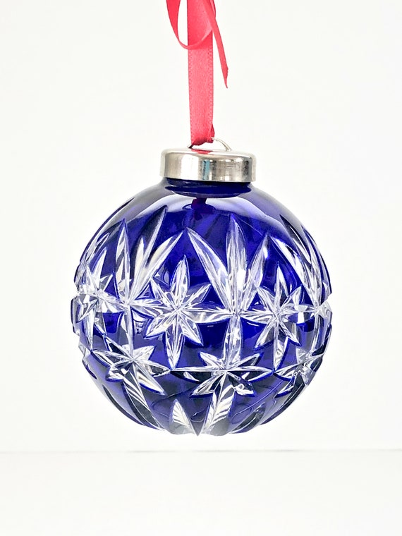 Waterford Christmas Ornaments.Vintage Waterford Christmas Ornament Crystal Ornament Ball Cobalt Blue Waterford Crystal Christmas Ball