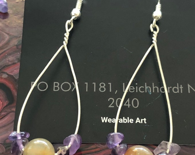 Large Jade and Amethyst silver wire  drop earrings