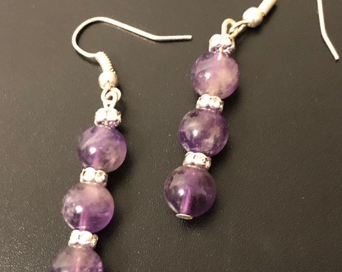 Amethyst and Tiger Eye earrings