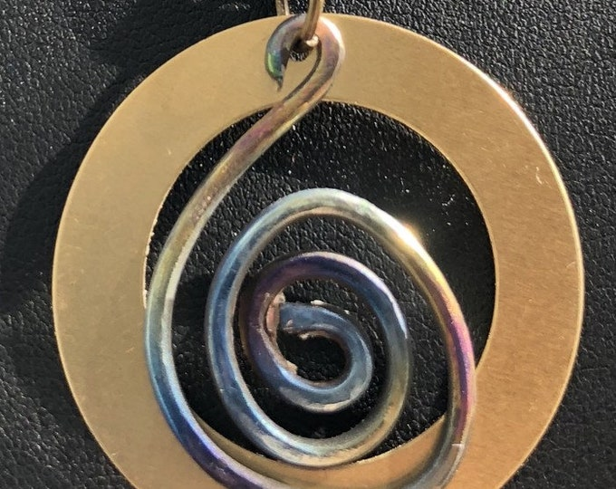 """Flame worked Titanium """"swan"""" and Brass circle Necklace"""
