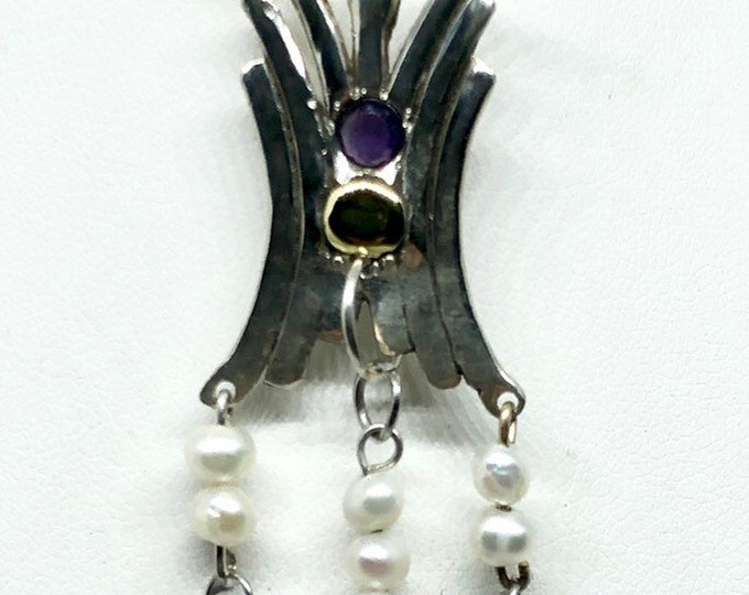 Silver Amethyst, sapphire and pearl pendant
