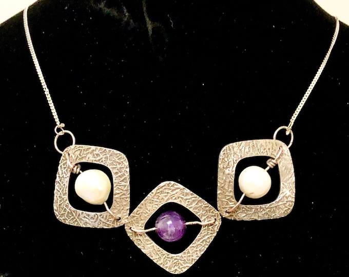 recycled silver, pearl and amethyst pendant / necklace