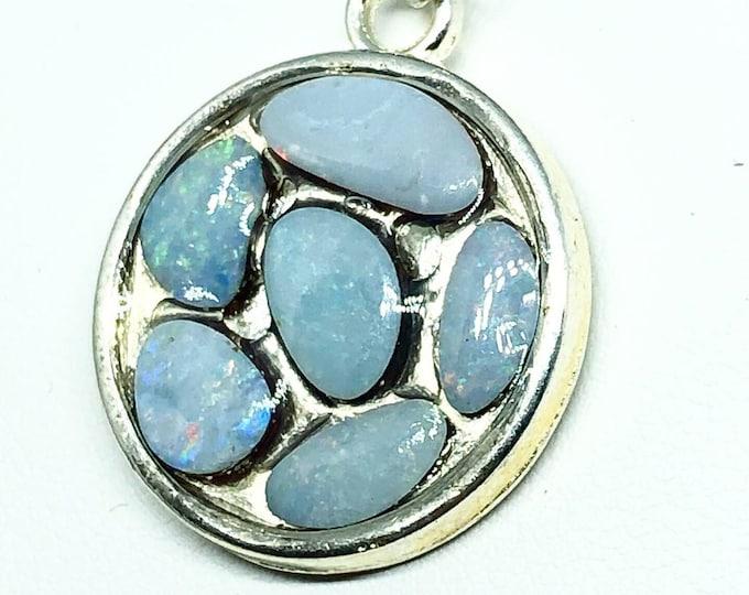 Australian Opal in Round Pendant