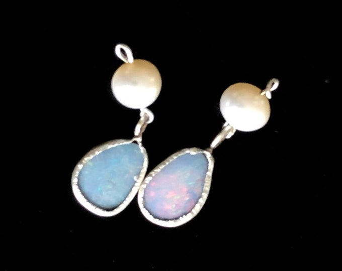 Australian Opal and silver Earrings