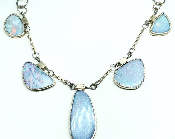 Australian Opal Silver Necklace