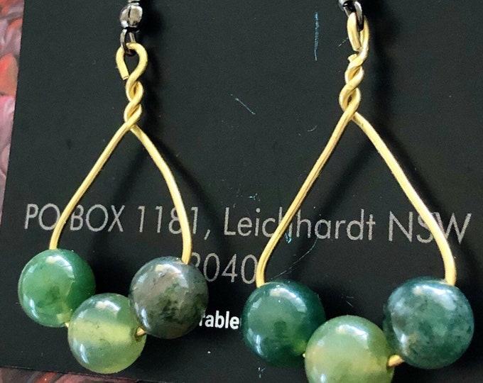 Green Jade beads drop earrings
