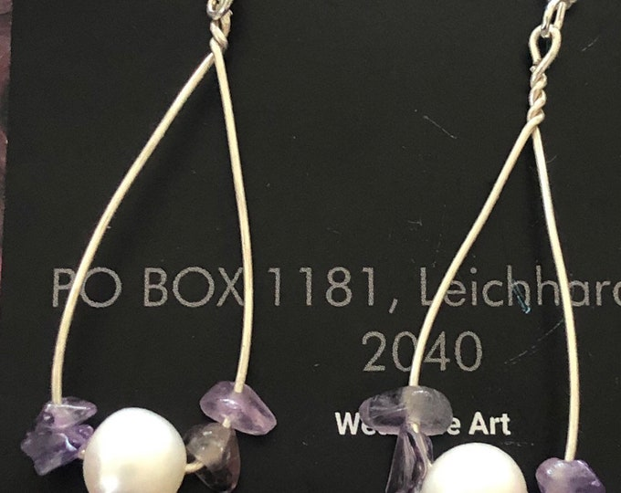 Large Pearl and Amethyst silver wire  drop earrings